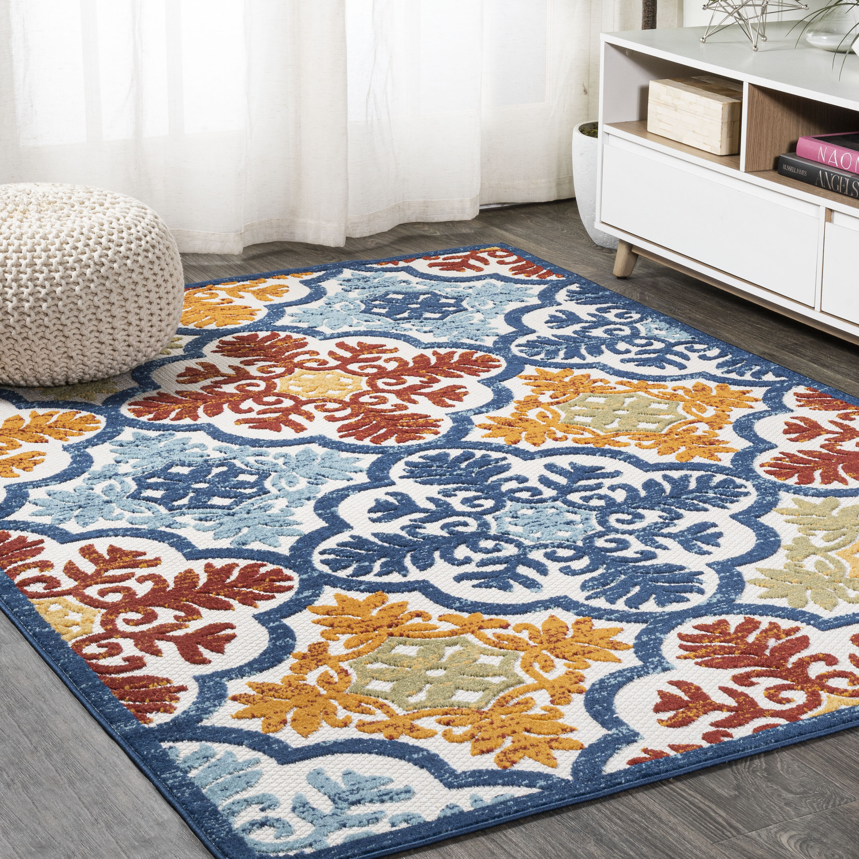 Charlton Home Heimdall Floral Blue Red Orange Indoor Outdoor Area Rug Reviews Wayfair