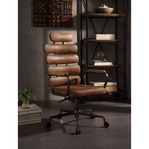 Demetra Leather Office Chair by 17 Stories