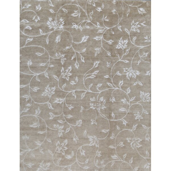 Floral Hand-Knotted Wool Gold Area Rug