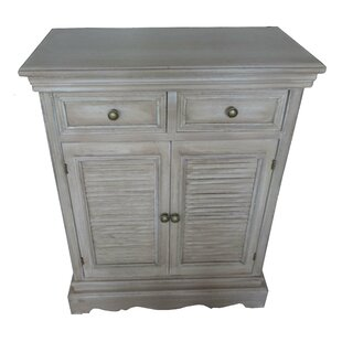 Wood Louvered 2 Drawer Accent Cabinet