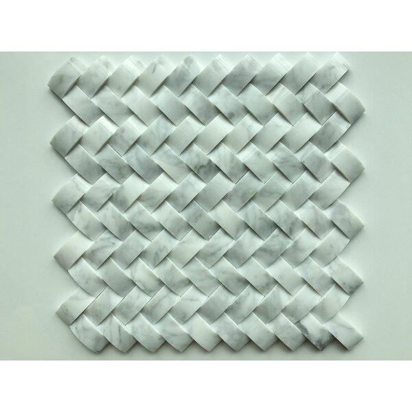 Marmol Herringbone Statuario 3D Natural Stone Mosaic Tile in White Marble by Kertiles