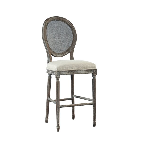 Spenzia Bar Stool with Rattan Back by Furniture Classics