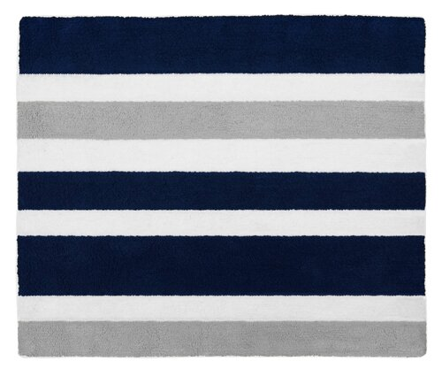 Stripe Hand-Tufted Navy Blue / Gray Area Rug by Sweet Jojo Designs