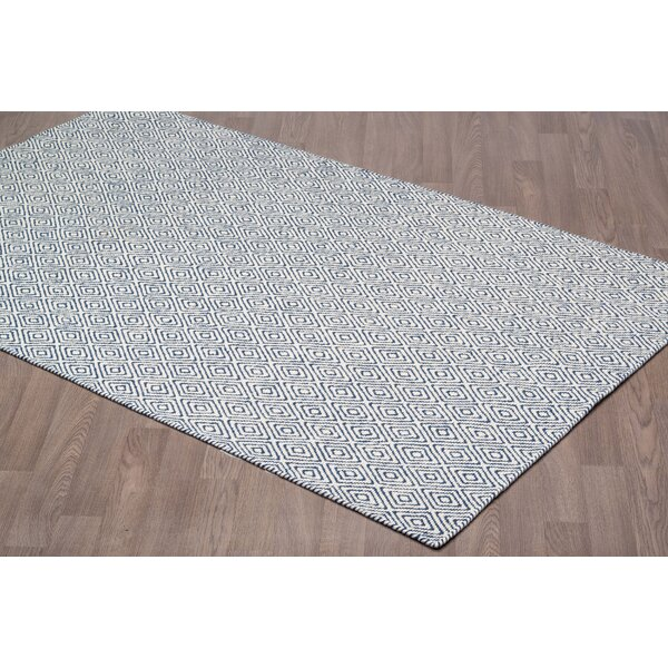 Litva Diamond Reversible Hand Woven Wool Ivory/Navy Area Rug by Brayden Studio