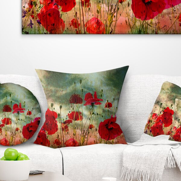 Floral Wild Poppy Flowers in Sky Throw Pillow by East Urban Home