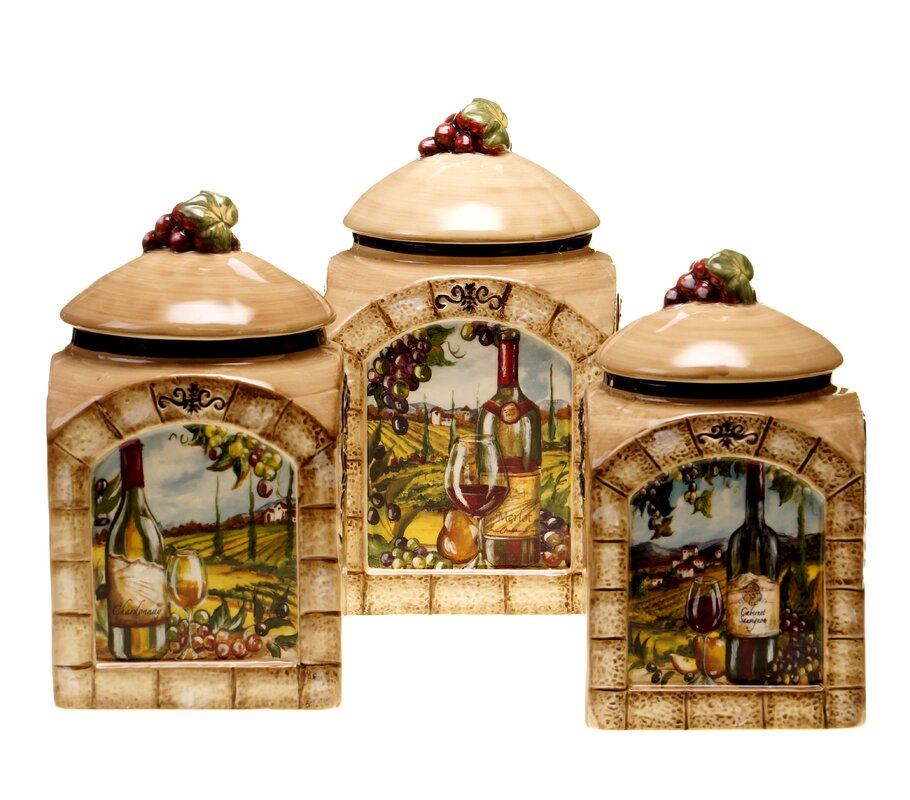 Fleur de lis living janet 3 piece kitchen canister set for Kitchen set name