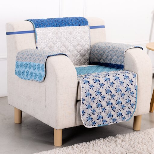 Blue Stone Box Cushion Armchair Slipcover by Pegasus Home Fashions