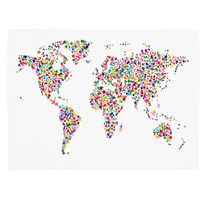 'Stars World Map' by Michael Tompsett Framed Graphic Art on Wrapped Canvas by Trademark Fine Art