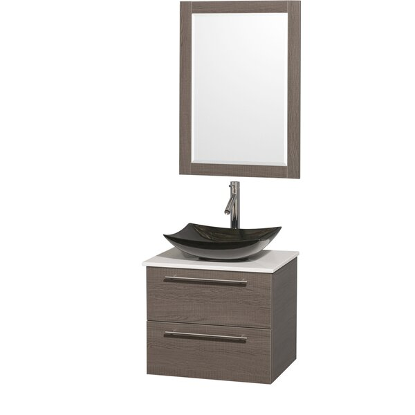 Amare 24 Single Gray Oak Bathroom Vanity Set with Mirror by Wyndham CollectionAmare 24 Single Gray Oak Bathroom Vanity Set with Mirror by Wyndham Collection