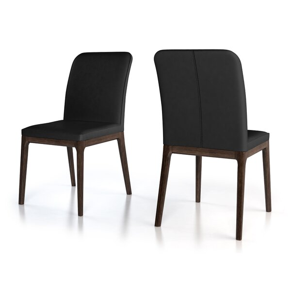 Hubbard Genuine Leather Upholstered Dining Chair (Set of 2) by 17 Stories