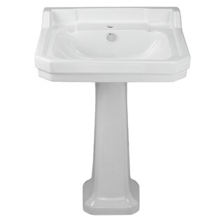 Affordable China Series Vitreous China 35 Pedestal Bathroom Sink with Overflow ByWhitehaus Collection