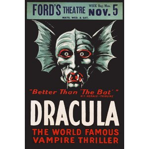 'Dracula Ford's Theater' by Public Domain Vintage Advertisement on Wrapped Canvas by Buy Art For Less