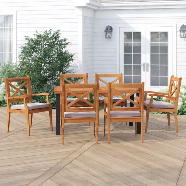 Dawley Outdoor 7 Piece Dining Set with Cushions by Three Posts