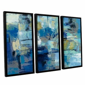 Ultramarine Waves III 3 Piece Framed Painting Print on Canvas Set by Brayden Studio