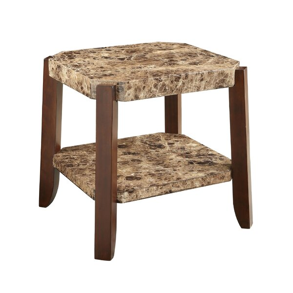 Matias Marble Top and Bottom Shelf Wooden End Table by Winston Porter