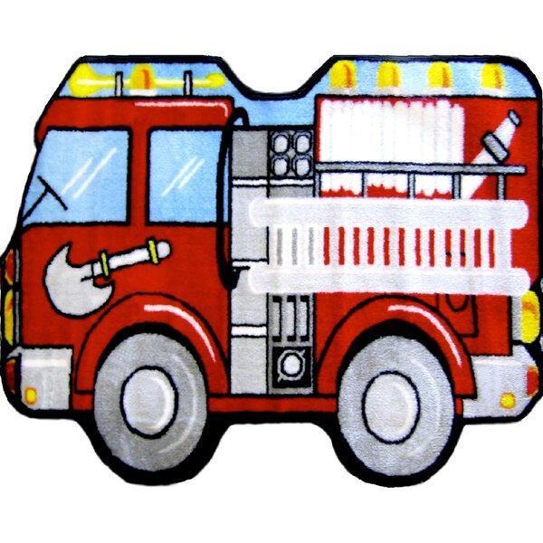 Fun Shape Medium Pile Fire Truck Area Rug by Fun Rugs