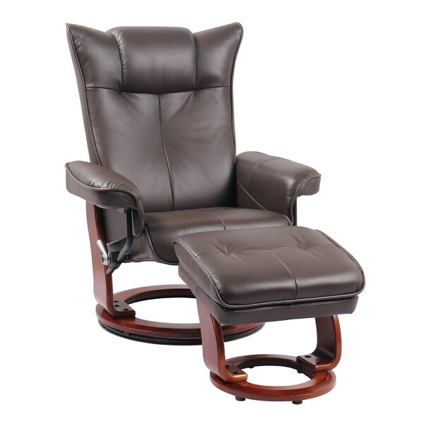 Souris Genuine Leather Manual Swivel Recliner with Ottoman W003282293