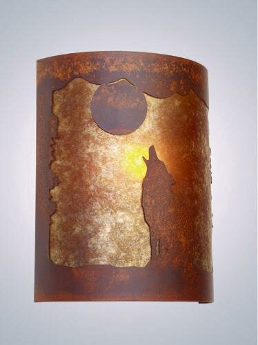 Barking at the Moon Timber Ridge 1-Light Wall Sconce by Steel Partners