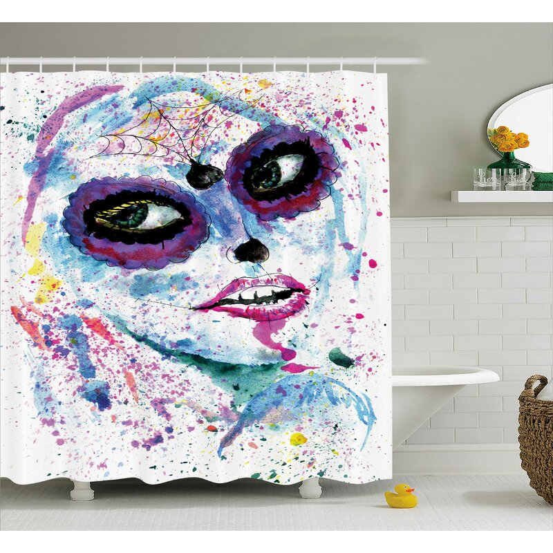 Girly Grunge Halloween Lady With Sugar Skull Make Up Creepy Dead Face Gothic Print Shower Curtain