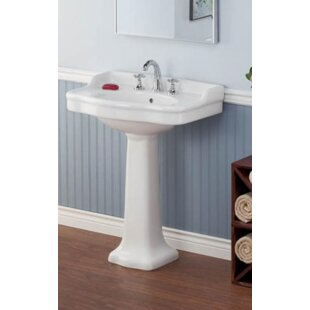 Look for Vitreous China 28 Pedestal Bathroom Sink with Overflow By Cheviot Products