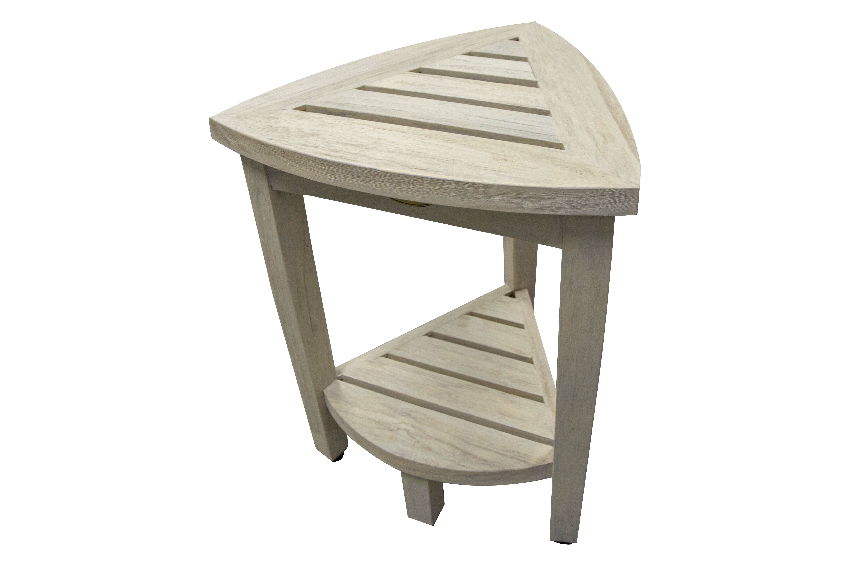 Ecodecors Oasis Coastal Vogue Compact Teak Corner Shower Bench With Shelf Wayfair