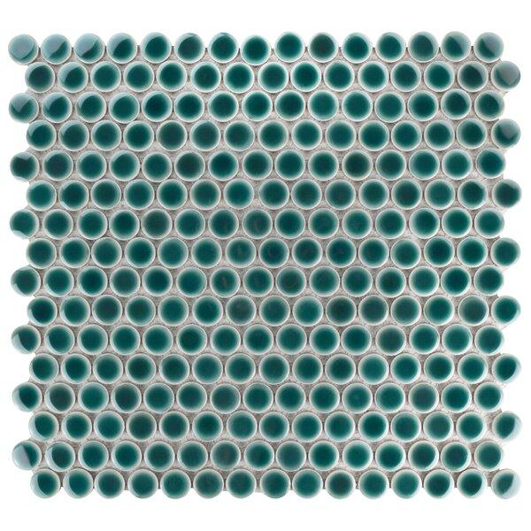 Penny 0.8 x 0.8 Porcelain Mosaic Tile in Emerald by EliteTile
