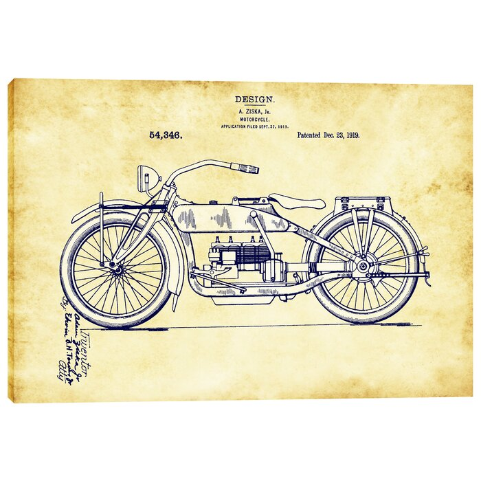 Epic graffiti vintage motorcycle patent blueprint graphic art on vintage motorcycle patent blueprint graphic art on wrapped canvas malvernweather Gallery