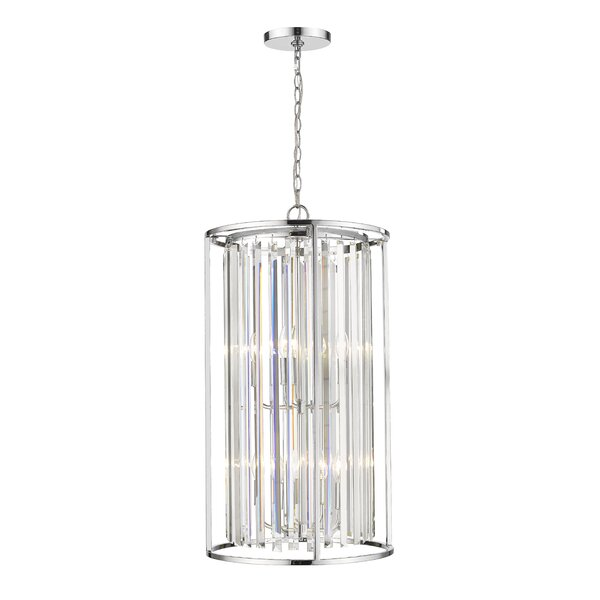 Cavanaugh 8 - Light Candle Style Drum Chandelier with Crystal Accents by Rosdorf Park Rosdorf Park