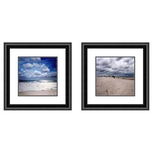 'Coastal Cloudy Beach' 2 Piece Framed Photographic Print Set by Highland Dunes