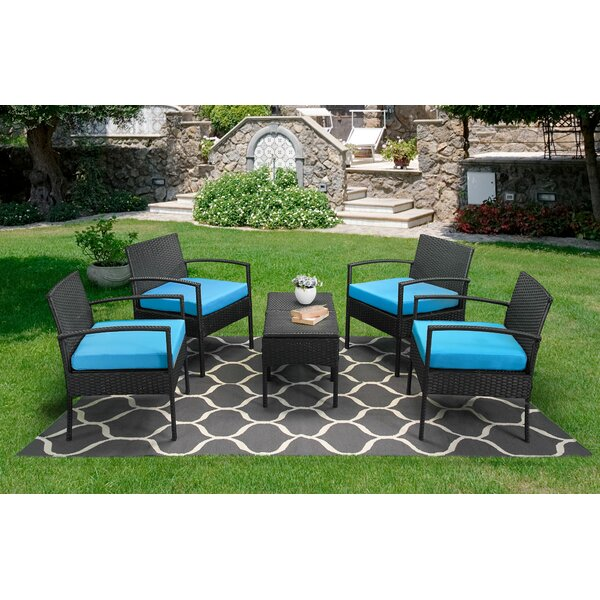 6 Piece Rattan Multiple Chairs Seating Group with Cushions by Home Zillions