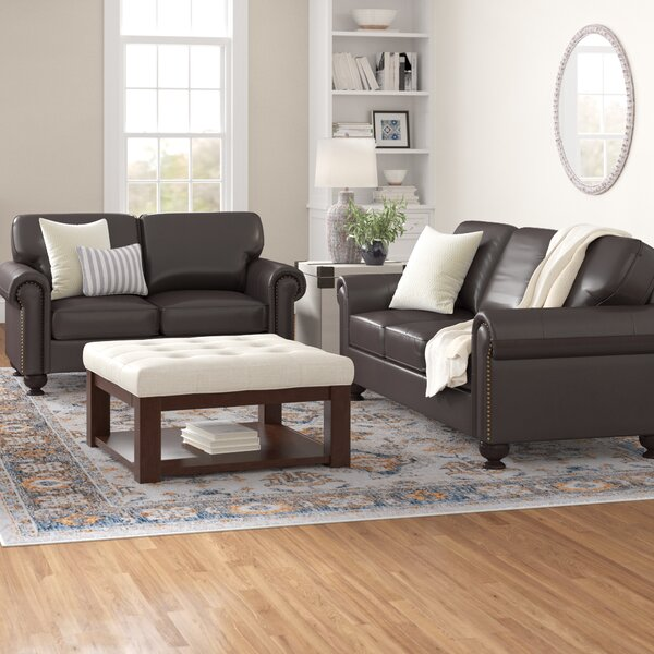 Closeout Bella Vista Leather Sofa by Three Posts by Three Posts