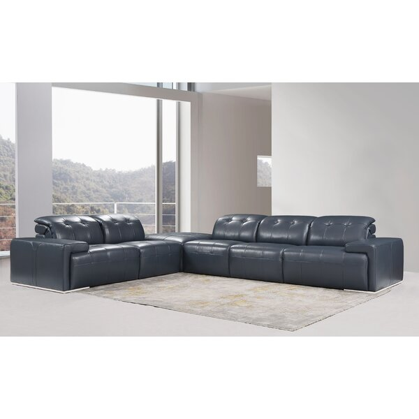 Karlov Leather Symmetrical Modular Sectional by Orren Ellis