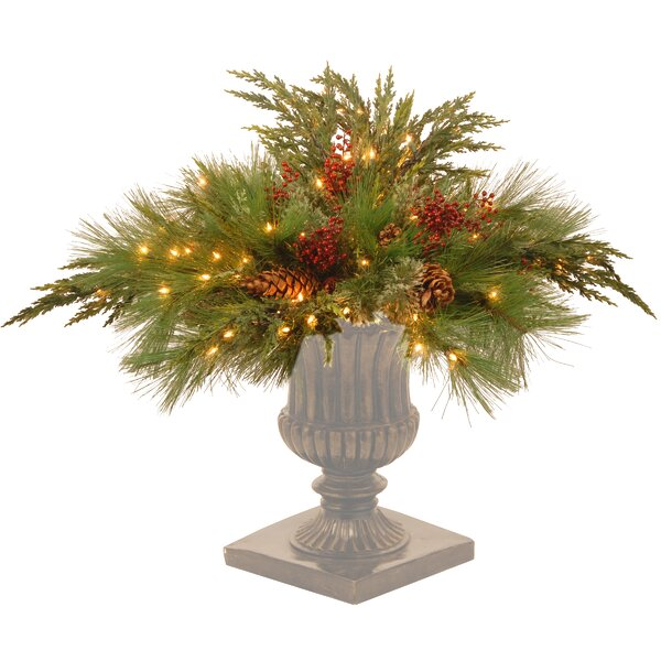 Decorative Prelit Pine Artificial Filling Foliage Topiary by The Holiday Aisle