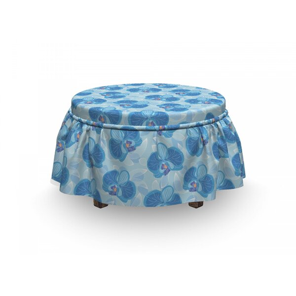 Soft Orchid Blossoms Ottoman Slipcover (Set Of 2) By East Urban Home