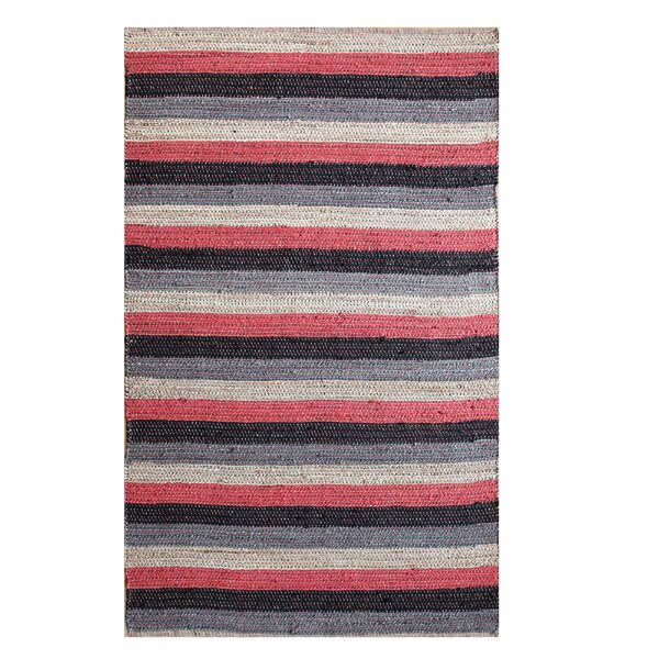 Hand-Woven Black/Red Area Rug by Affinity Linens