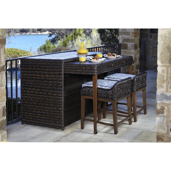 Rio 3 Piece Bar Height Dining Set with Sunbrella Cushions by Brayden Studio