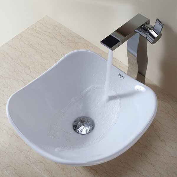 Ceramic Ceramic Circular Vessel Bathroom Sink by Kraus
