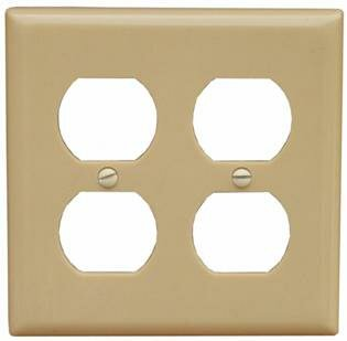 2 Gang Midsize Receptacle Lexan Wall Plates in Ivory by Morris Products