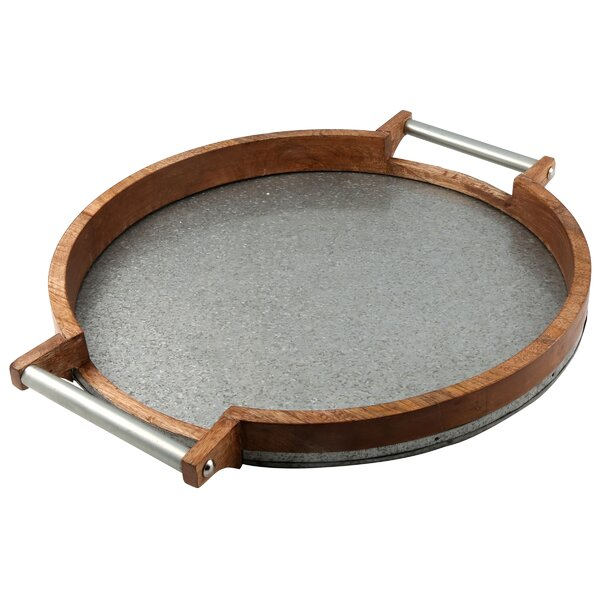 Mertz Round Mango Wood and Galvanized Iron Serving Tray by Laurel Foundry Modern Farmhouse