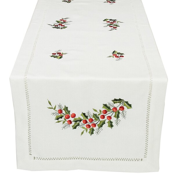 Holly Berry Embroidered Hemstitch Holiday Table Runner by The Holiday Aisle