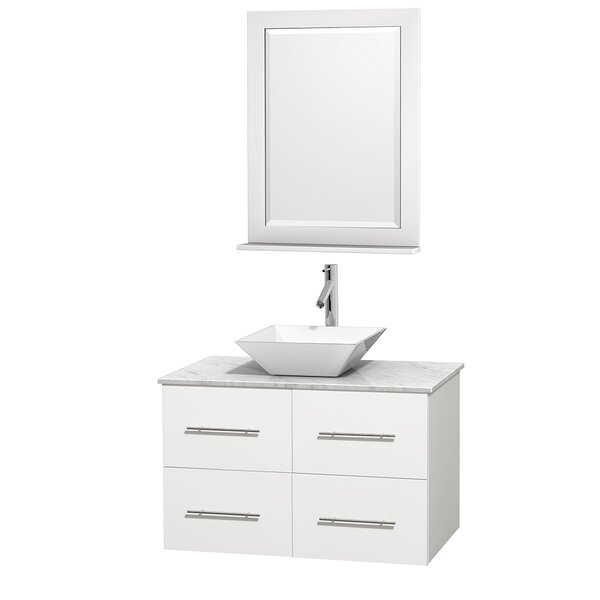Centra 36 Single White Bathroom Vanity Set with Mirror by Wyndham Collection