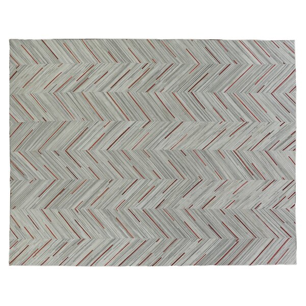 Natural Hide Hand-Tufted Cowhide Ivory/Beige/Red Area Rug by Exquisite Rugs