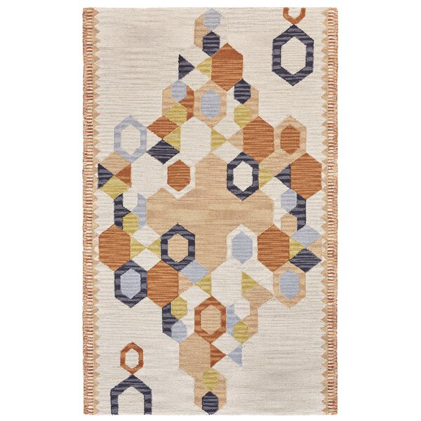 Willowick Hand-Tufted Orange/Ivory Area Rug by Wrought Studio