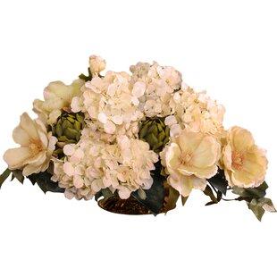 Magnolia silk flowers wayfair magnolia and hydrangea silk floral centerpiece mightylinksfo
