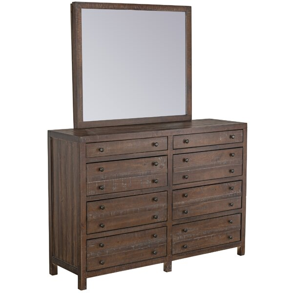 Seawright Storage 8 Drawer Double Dresser with Mirror by Millwood Pines