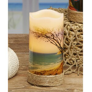 LED Real Wax Beach Unscented Flamless Candle
