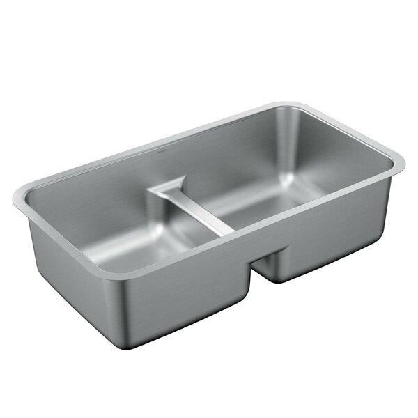 1800 Series 32 L x 18 W Stainless Steel 18 Gauge Double Bowl Kitchen Sink by Moen