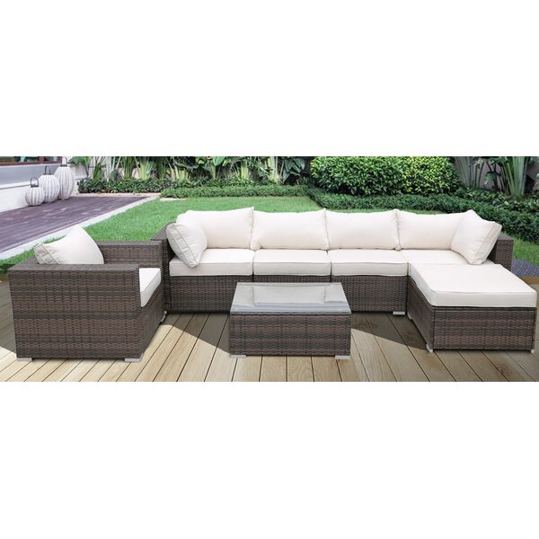 Mullinax Patio 3 Piece Rattan Sectional Seating Group with Cushions by Orren Ellis