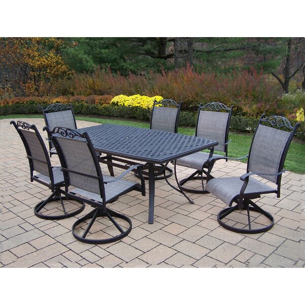 Basile 7 Piece Swivel Dining Set by August Grove