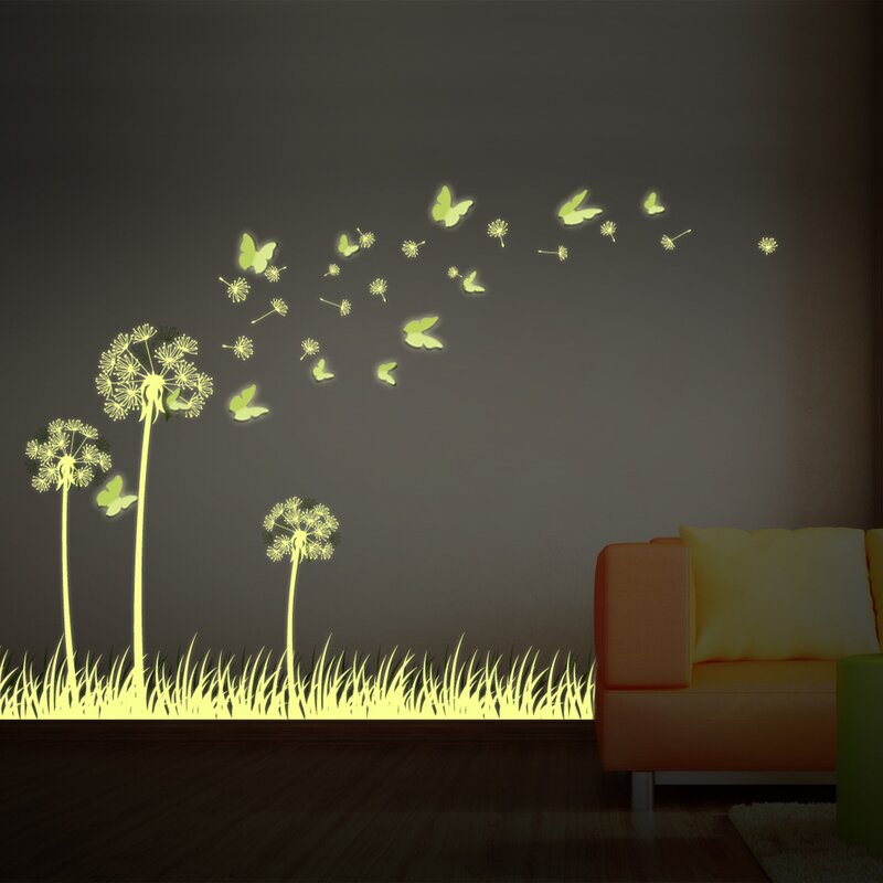 Glow In Dark 3D Butterfly And Dandelion Wall Decal
